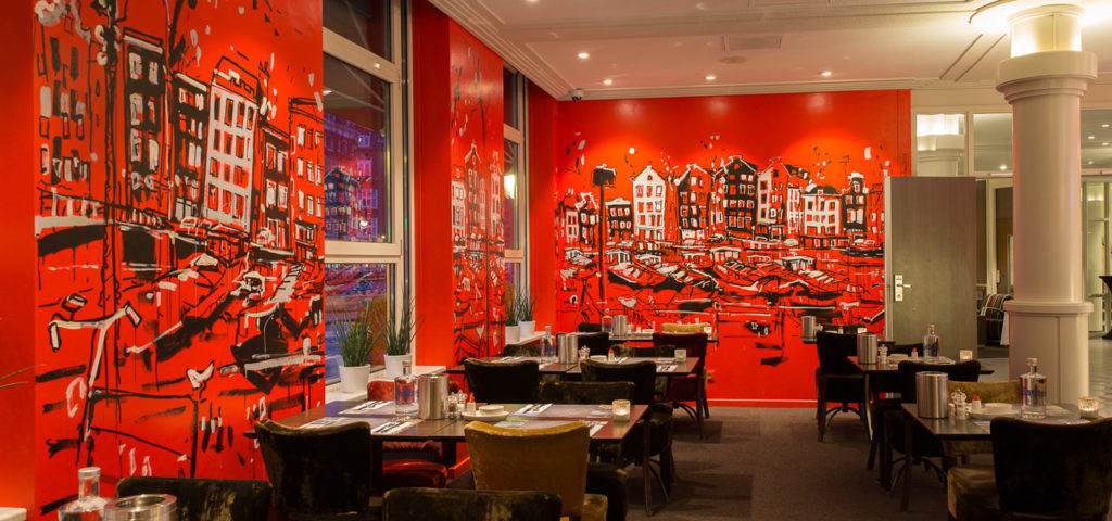Muurschildering ontbijtruimte City Centre Hotel Amsterdam - WestCord Hotels
